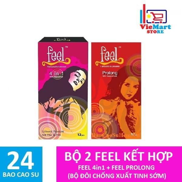 Bộ 2 Cảm xúc dài lâu Bao cao su Feel 4in1 12s + Feel Prolong 12s - Hãng phân phối chính thức
