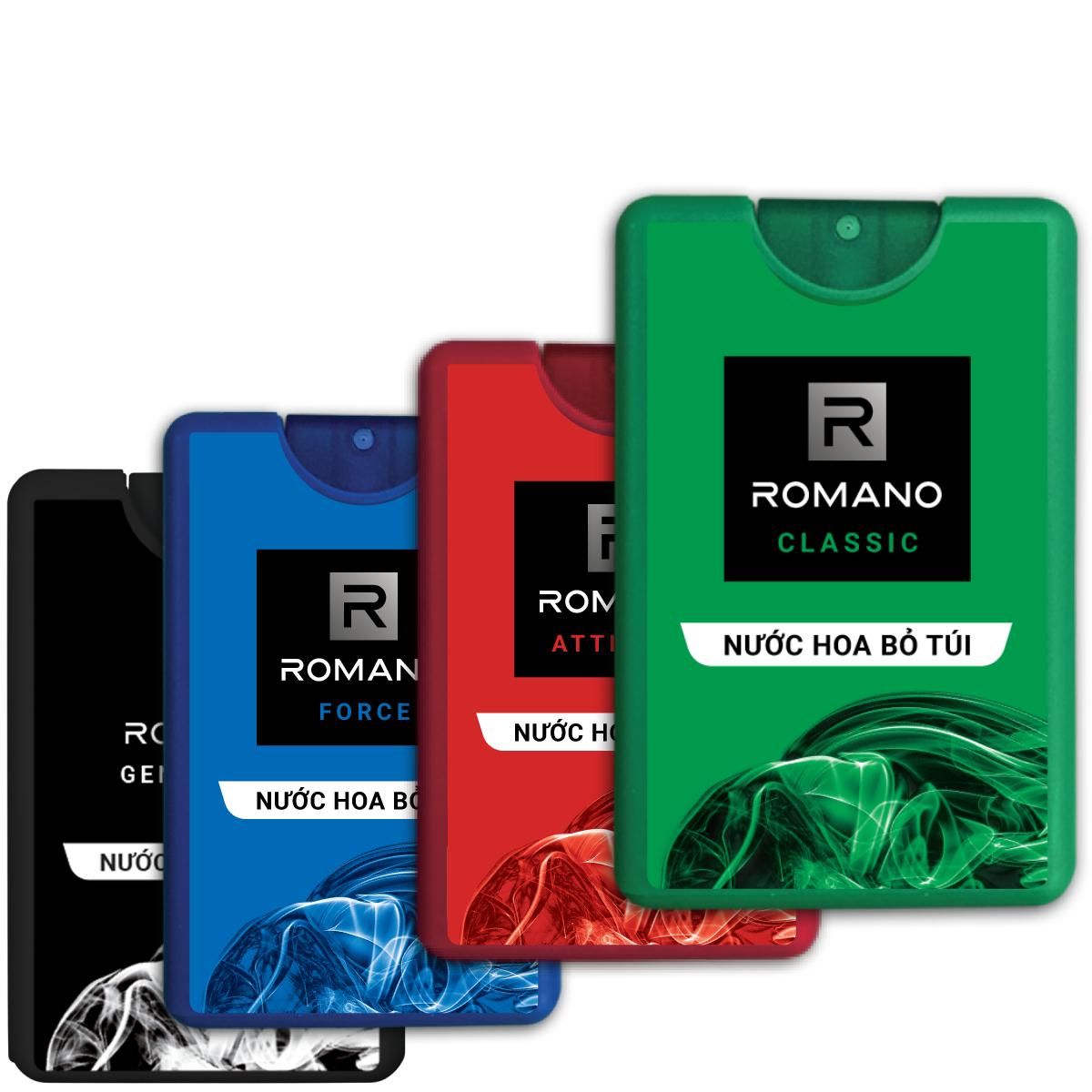 Combo 4 Nước hoa bỏ túi Romano 18ml Classic & Force & Attitude & Gentleman
