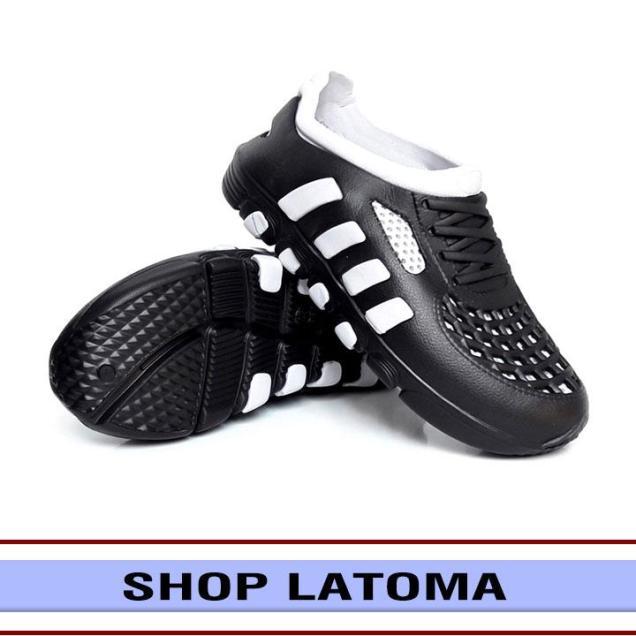 Giày nam, dép rọ, dép đúc liền, giày sandal, dép bít mũi chất liệu Cao su ôm chân nhưng vẫn thoáng mát mang thoải mái thời trang Latoma cao cấp TA2021 (Đen phối Xám) giá rẻ