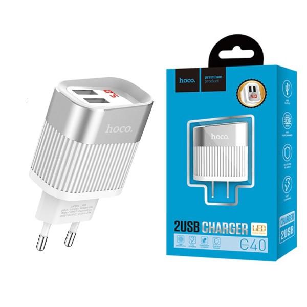 Củ Sạc Hoco C40 - 2 Cổng USB - Có Đèn LED
