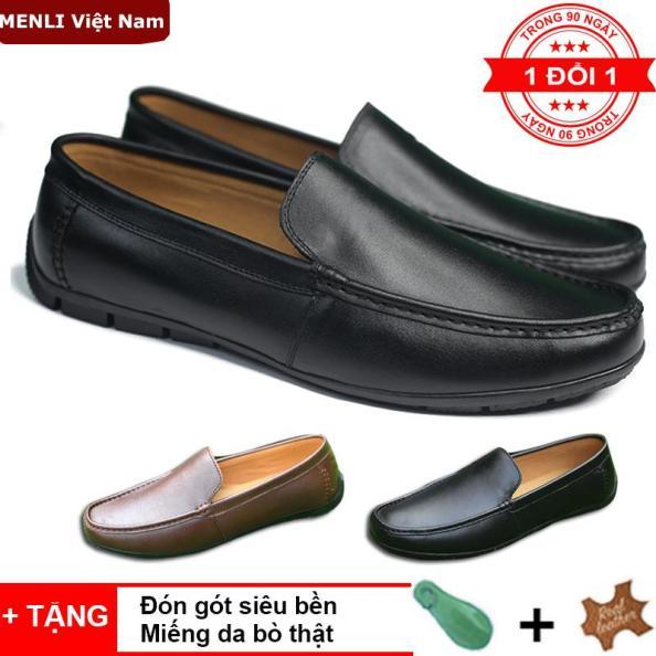 Giày lười, giày mọi nam da thật MENLI GLLZ123 (Đen, Nâu) giá rẻ