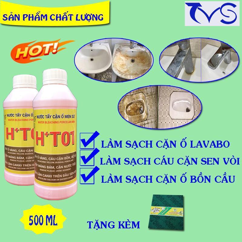 Tẩy trắng bồn sứ, bồn cầu, sen vòi HT01, loại CỰC MẠNH tẩy ố cáu cặn sen vòi, bồn sứ, gạch men HT01