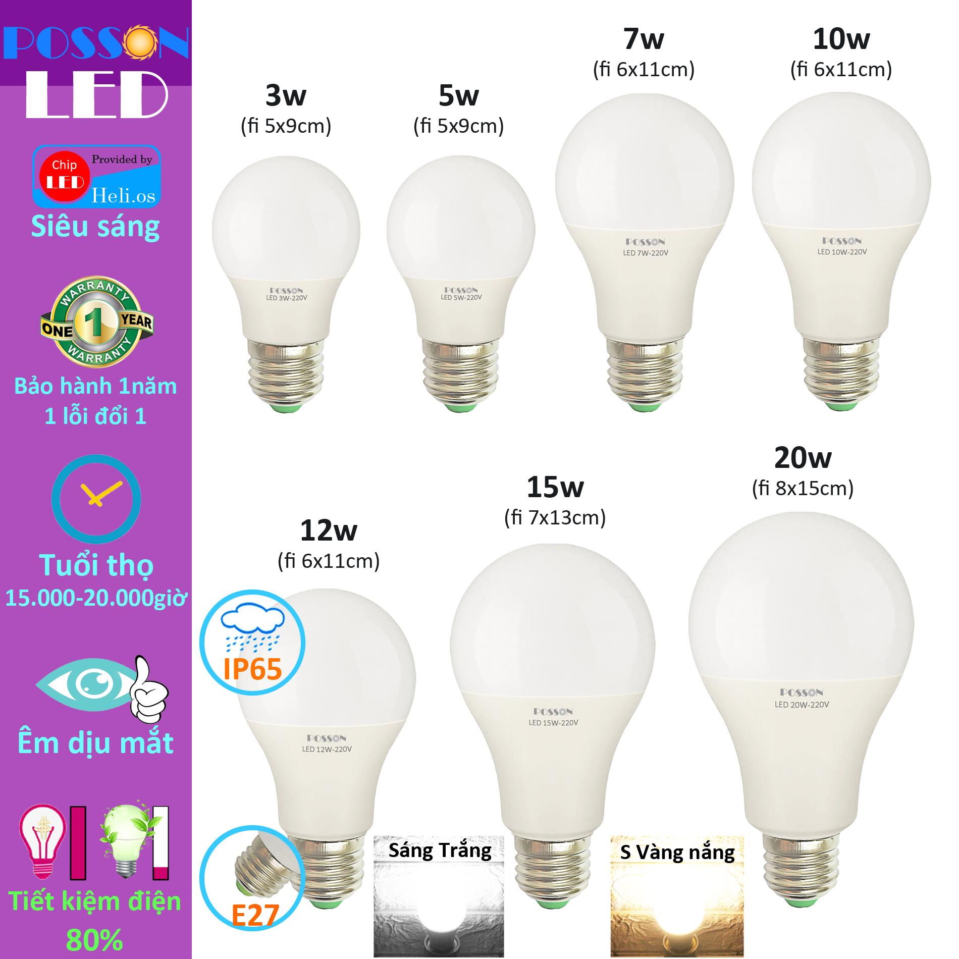 Bóng đèn Led 3w 5w 7w 9w 10w 12w 15w 20w bup tròn A bulb tiết kiệm điện kín chống nước Posson LB-3-20x