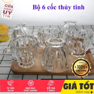 Bộ 6 Ly Thủy Tinh Bầu Lùn Uống Trà - Set ly thuỷ tinh uống trà cao cấp- Ly thuỷ tinh uống trà - ly uống trà, ly trong suốt, ly cà phê thumbnail