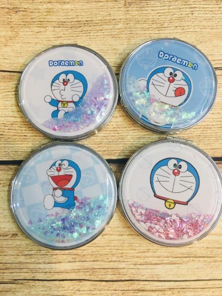 Gương trang điểm mini 2 mặt kim tuyến tròn hình Đô Rê Mon - SakuraShop