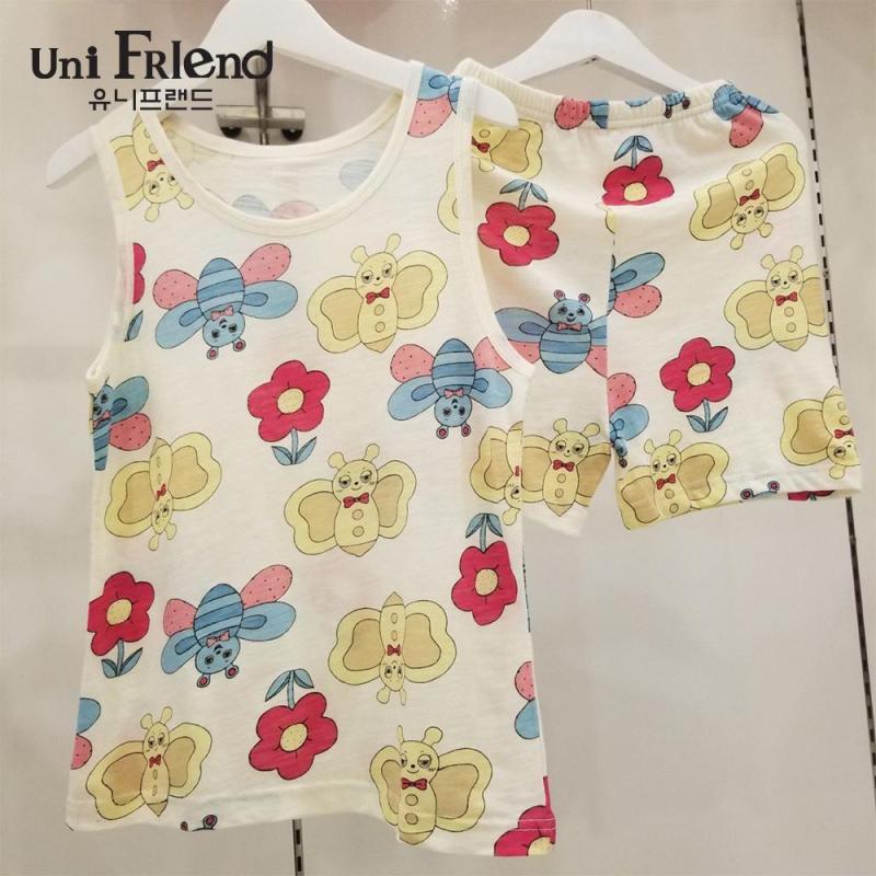Nơi bán Đồ bộ mặc nhà bé gái Unifriend thun ngắn họa tiết hoa bướm U8SSTS33