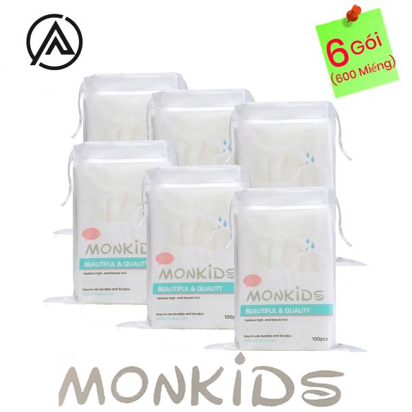 COMBO 6 gói bông tẩy trang 100% cotton 3 lớp mềm mịn thấm hút cực tốt 600 miếng BTT03AZ - Thương Hiệu MONKIDS