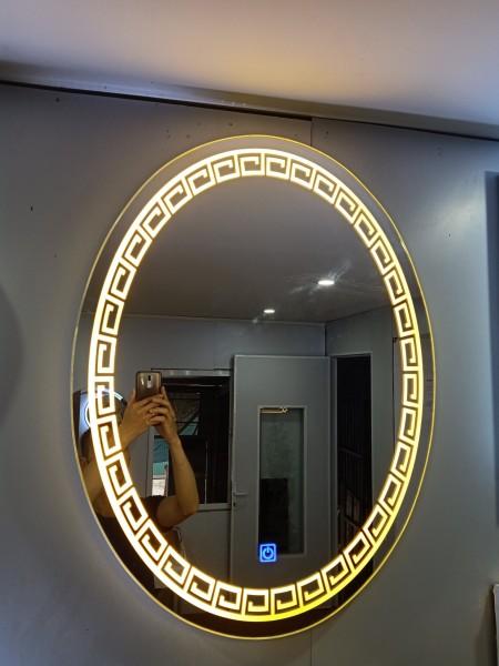 Gương OVL đèn led Gương elip nhà tắm tính năng cảm ứng ba chạm - guonghoangkim , kích thước 50x70 cm