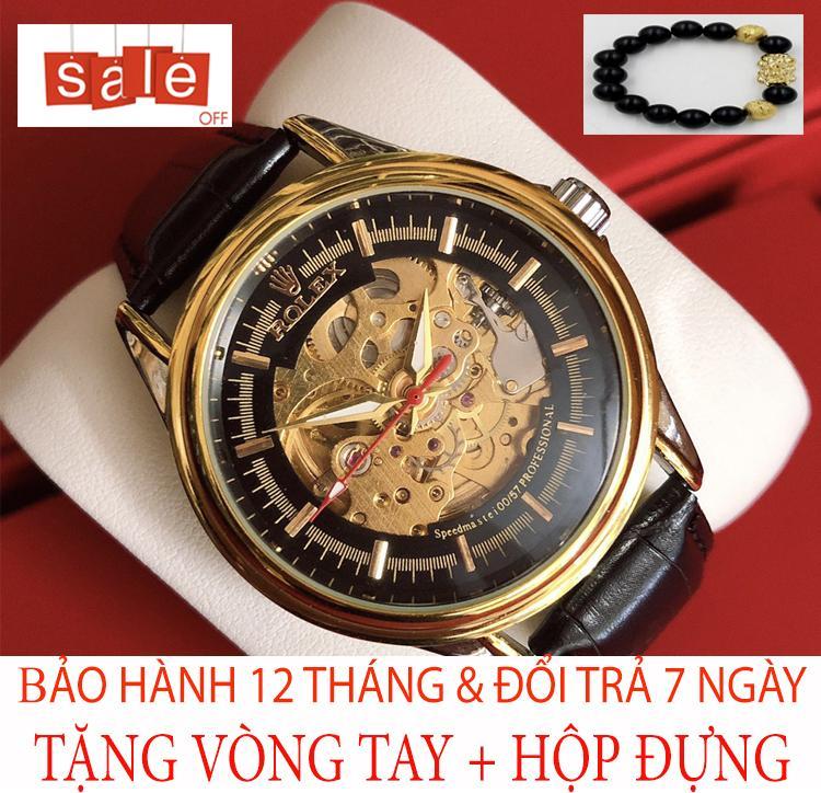 [TẶNG VÒNG TAY] Đồng hồ Nam Rolex250 chạy cơ tự động dây da PU cao cấp, size 41 mm [Liên quan: dây da, dây lưới, thông minh, chống nước, điện tử, quai thép, quai da, thời trang, dây kim loại, đeo tay, độc chất, đẹp] bán chạy
