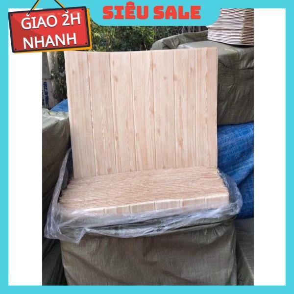 Xốp dán tường giả gỗ 3D kt 70 x70cm 5mm vàng nhạt sang trọng
