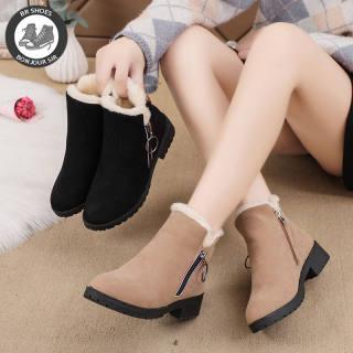BR Thời trang mới của Hàn Quốc ống ngắn cộng với giày tuyết nữ có dây kéo bên nhung
