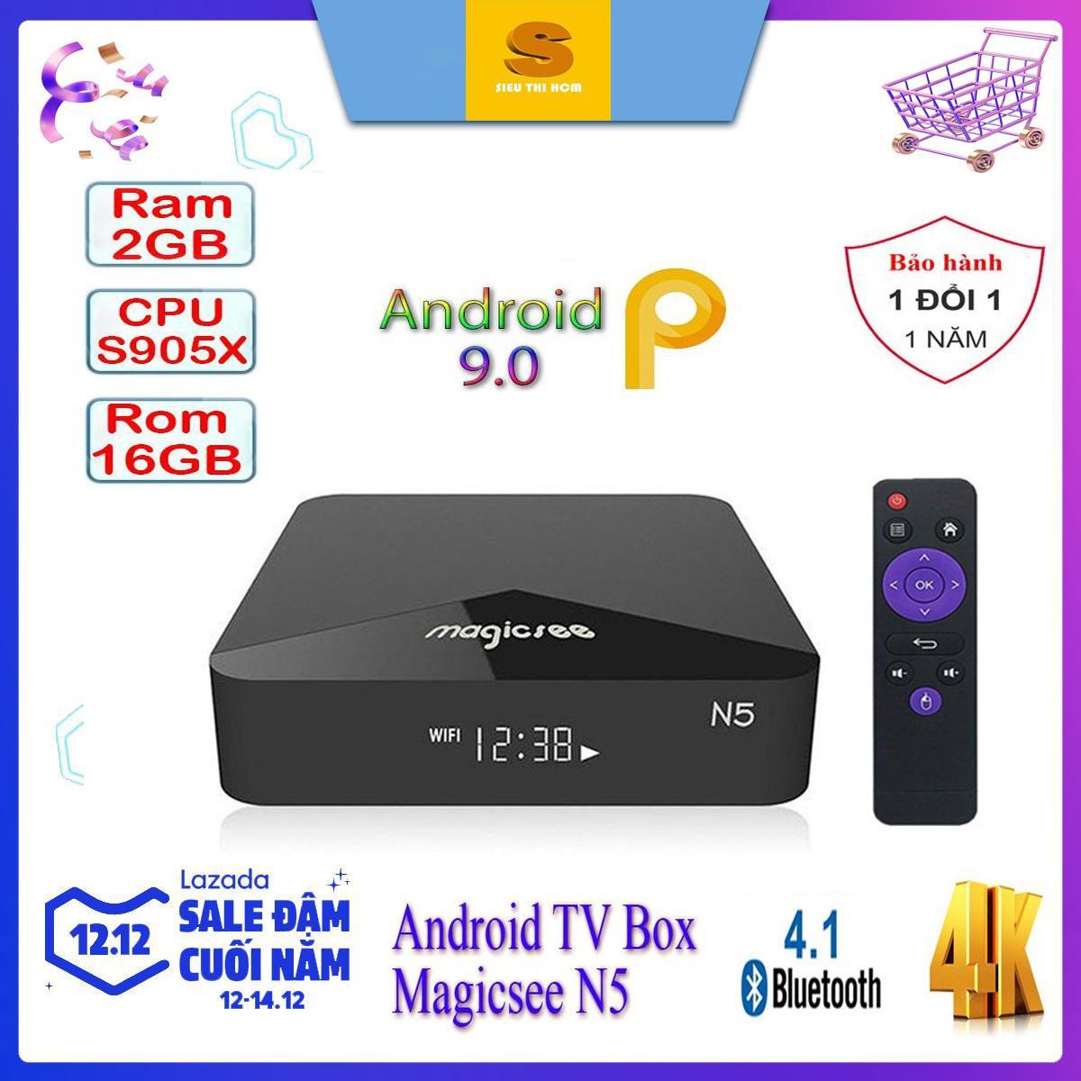 [Có Video] Android Tivi Box Magicsee N5 - Chip S905X Siêu Khủng - Android 9.0 - Ram 2GB - Rom 16GB - Xem Truyền Hình Miễn Phí Có Giá Tốt