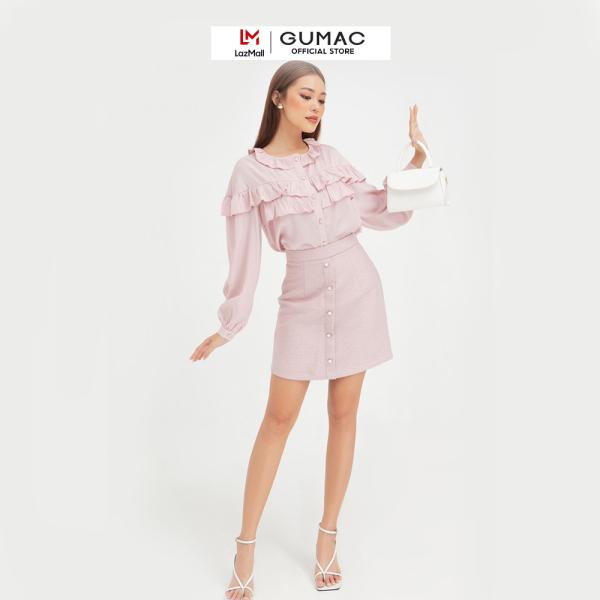 Nơi bán Chân váy nữ đẹp thiết kế  gấm nẹp thời trang GUMAC mẫu mới VB408