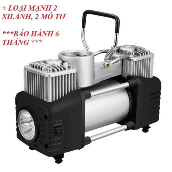 Bơm lốp ô tô loại mạnh 2 motor, 2 xi lanh đa chức năng, đo áp suất lốp loại mạnh, kèm theo dây kích bình, có đèn led và đồng hồ đo áp suất lốp