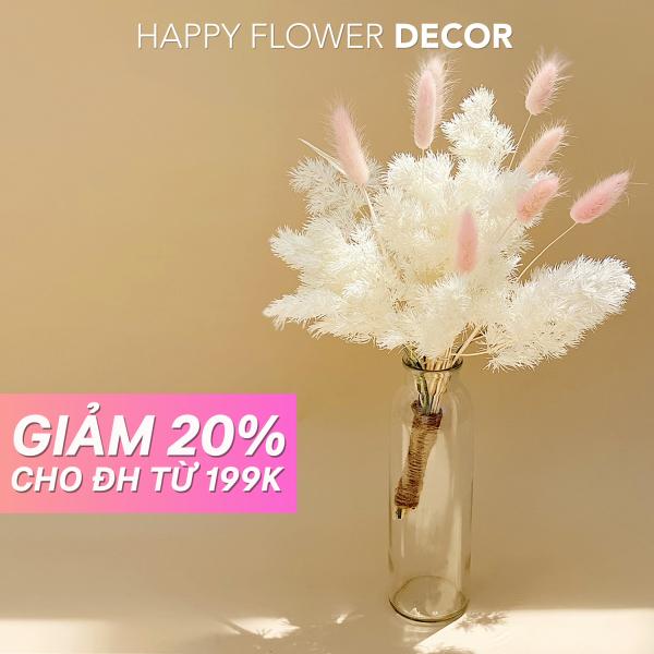 Hoa Khô Happy Flower - Combo hoa cỏ đuôi thỏ xinh xắn cắm bình trang trí nhà cửa, phòng ngủ