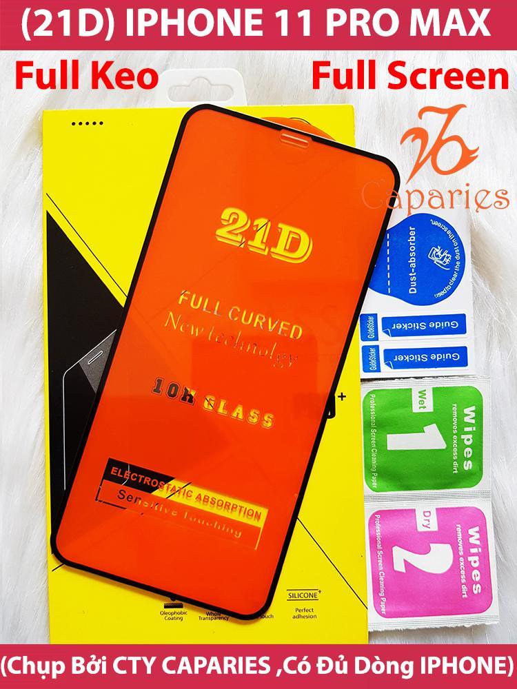Giá Kính Cường Lực 21D IPHONE 11 PRO MAX Full Keo Màn Hình 21D CAPARIES SIÊU BỀN, SIÊU CỨNG, ÔM SÁT MÁY