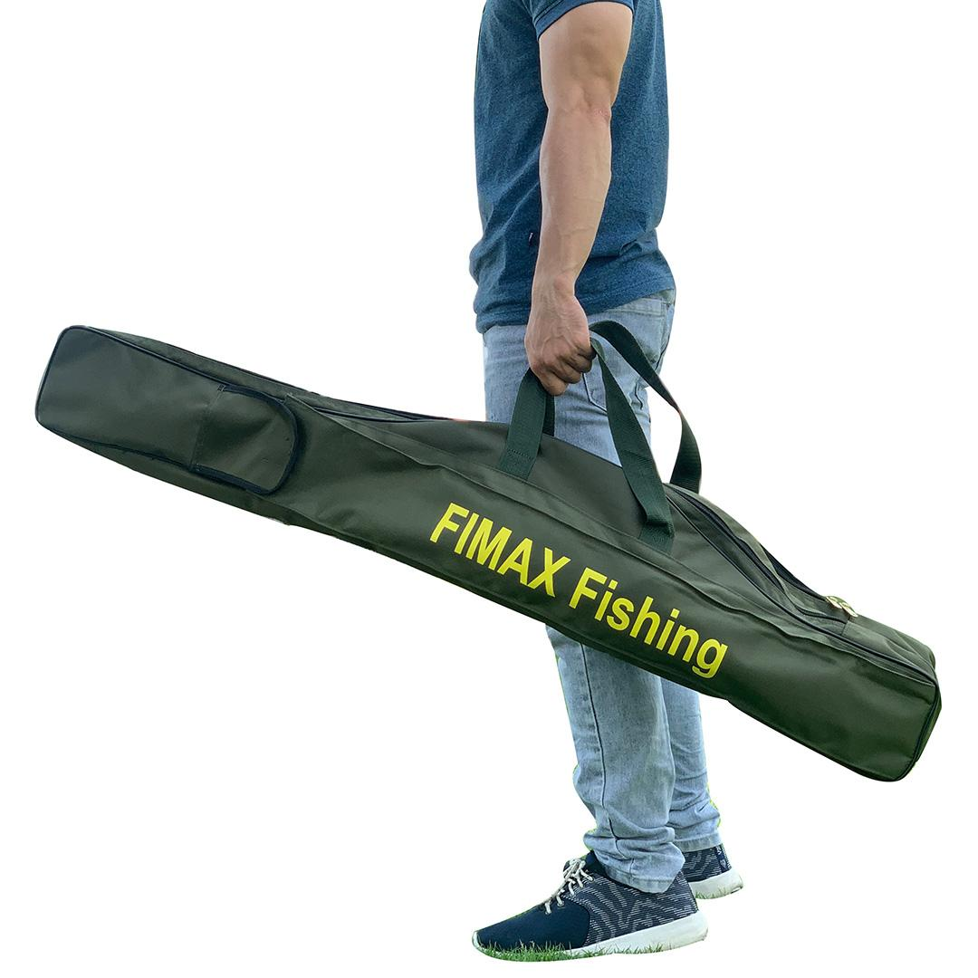 [HOT] Túi đựng cần câu máy 2 ngăn cao cấp siêu rộng Fimax Fishing đựng hơn 10 cần - Bao đựng cần 2 khúc câu cá tra, cần câu lure 115cm, 145cm, 165cm