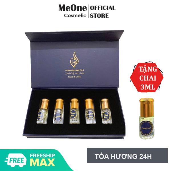 [Mua 1 Tặng 1] Sét 5 Chai Lăn Nước Hoa Tinh Dầu Dubai - MeOne Cosmetic - Siêu Phẩm Nước Hoa Dành Cho Nam Nữ Ngọt Ngào Quyến Rũ Thơm Lâu - Tặng Chai Lăn 3ml Mùi Bất Kì cao cấp
