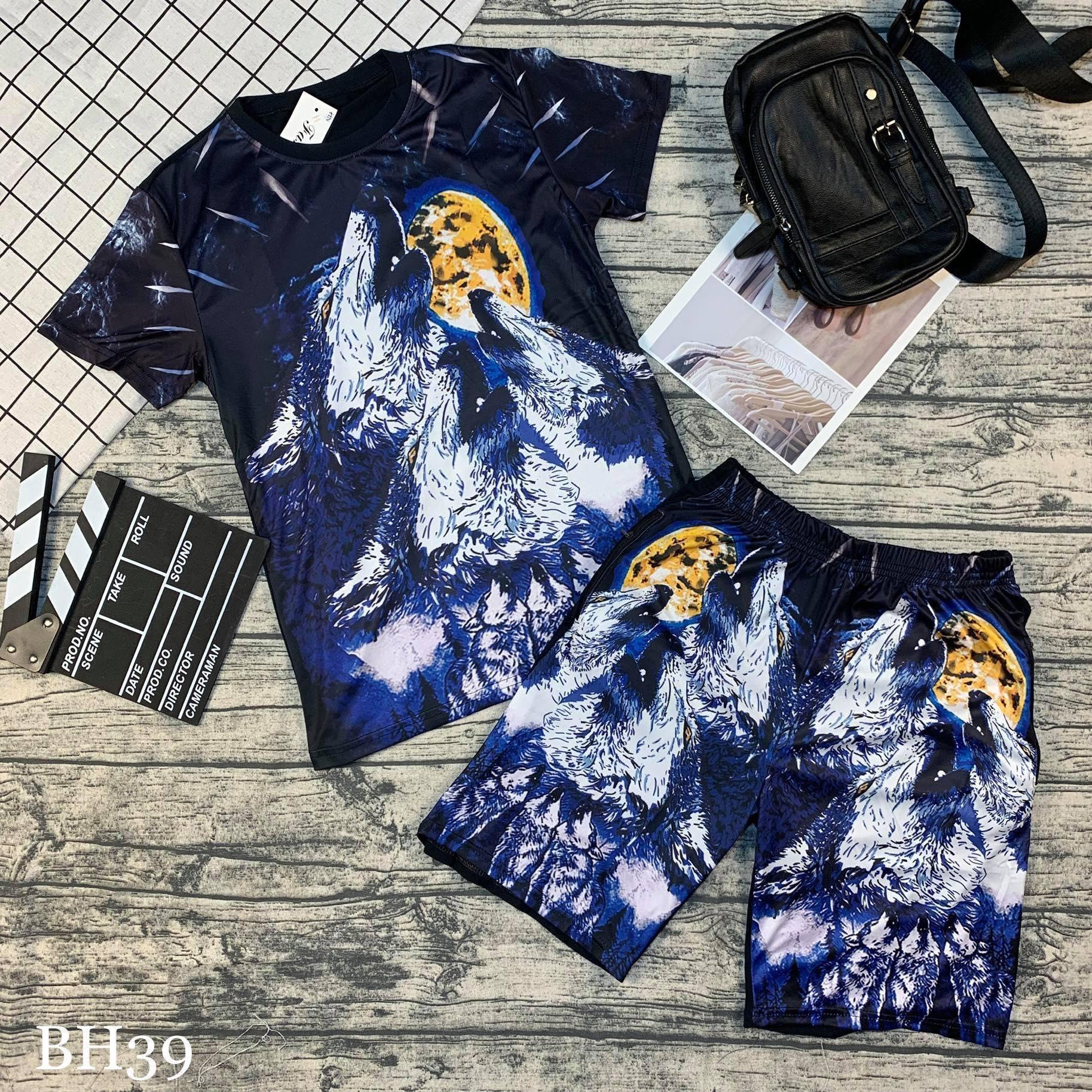 Bộ quần áo mùa hè nam 3D Cao Cấp - Quần áo thể thao nam sói trắng Chất Thun Lạnh Size M L Xl 45-80kg