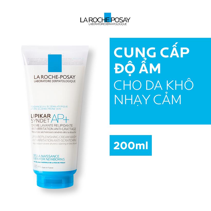 Sữa rửa mặt và Sữa tắm làm sạch cho da khô nhạy cảm bị kích ứng mẩn đỏ ngứa La Roche Posay Lipikar Syndet Cream-Gel 200ml