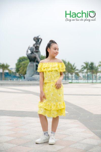 Nơi bán [HACHIO] Váy suông bé gái 11 - 15 tuổi xếp bèo, Chân váy xếp bèo vạt chéo