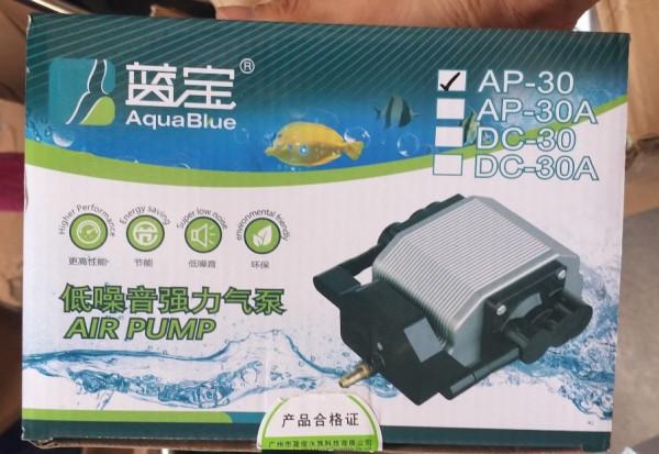 Máy thổi oxy siêu êm bằng hợp kim nhôm thương hiệu Aqua Blue AP-30 công suất 16W cho hồ cá