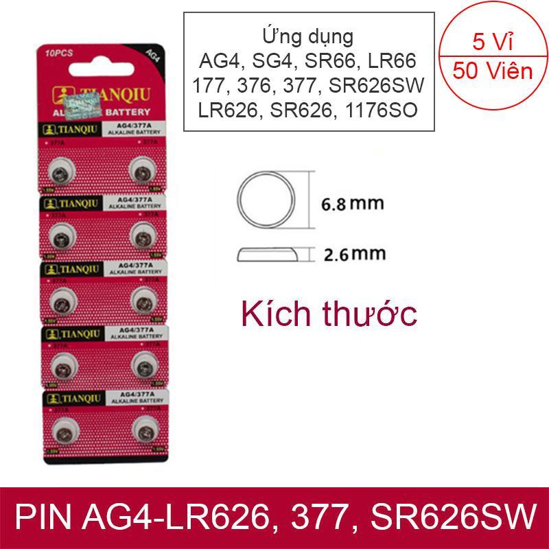 PIN nhỏ đầu đũa AG4, SG4, SR66, LR66, 177, 376, 377, SR626SW, LR626, SR626, 1176SO TIANQIU 5 vỉ 50 viên (dòng an toàn, không Thủy Ngân)