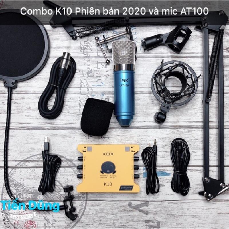Bộ mic thu âm ISK at100 sound card xox k10 2020 phiên bản tiếng anh chân dây - combo livestream micro AT100 đã đầy đủ