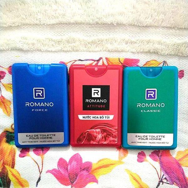 Combo 3 Nước hoa bỏ túi Romano (Classic, Attitude, Force, Gentleman) nồng ấm quyến rũ
