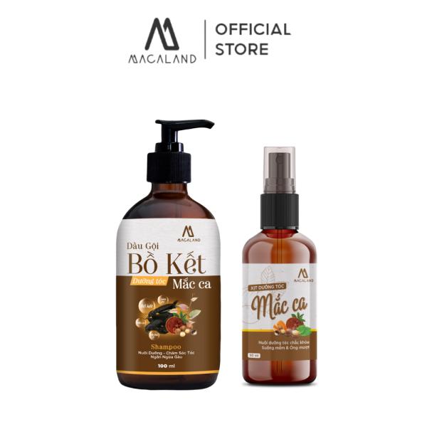 Combo Dầu gội Bồ Kết Dưỡng Tóc Mắc Ca 300ml và Xịt dưỡng tóc Mắc Ca 30ml MACALAND phục hồi tóc hư tổn từ gốc tới ngọn