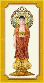 Tranh Phật Tam Thánh A Di Đà 17 kèm khung thumbnail