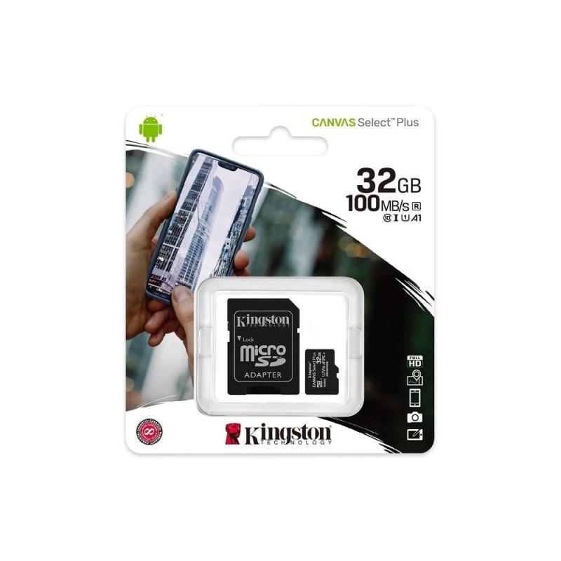 Thẻ nhớ microSDHC Kingston Canvas Select Plus 32GB 100MB/s chuẩn U1 V10 A1 - Kèm Adapter (Đen) - Phụ Kiện 1986