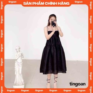 Váy hai dây dài khoét nơ lưng đen tingoan L.A LADY MIDI DRESS BL thumbnail