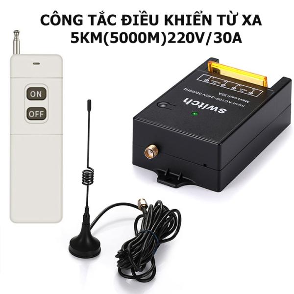 Bộ công tắc điều khiển từ xa 5Km/220V/30A có chức năng học lệnh từ điều khiển  khác ở tần số 433MHZ công tắc điều khiển từ xa không dây ổ cắm điều khiển từ xa công tắc bật tắt máy bơm nước công tắc wifi