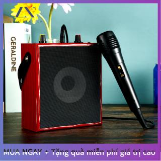 Loa hát karaoke không dây Bluetooth 5.0 (micro có dây 1) loa micro trong nhà ngoài trời bằng gỗ, hỗ trợ phát lại âm thanh Bluetooth USB TF card AUX thumbnail