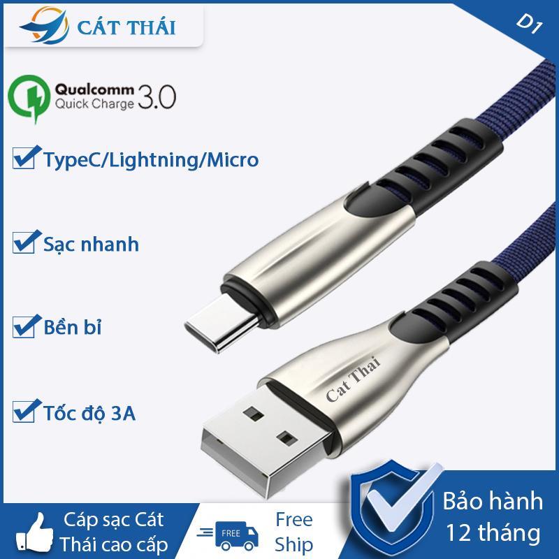 Dây Sạc Cáp Sạc Nhanh Cáp Sạc Nhựa Lightning Type-c Micro D1 3A IPhone OPPO SamSung XiaoMi Tương Thích Các Dòng IOS Và Android Giá Sốc Không Thể Bỏ Qua