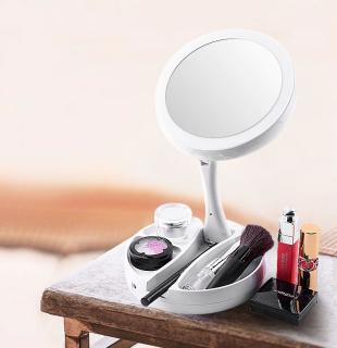 GƯƠNG TRANG ĐIỂM TRÒN TÍCH HỢP ĐÈN LED GẤP GỌN [Gương trang điểm để bàn, Gương trang điểm đèn LED, Gương trang điểm dễ thương] thumbnail