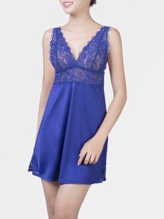 Váy ngủ, đầm ngủ phối ren cao cấp Corele V. 7011A sexy, gợi cảm quyến rũ màu Xanh thumbnail