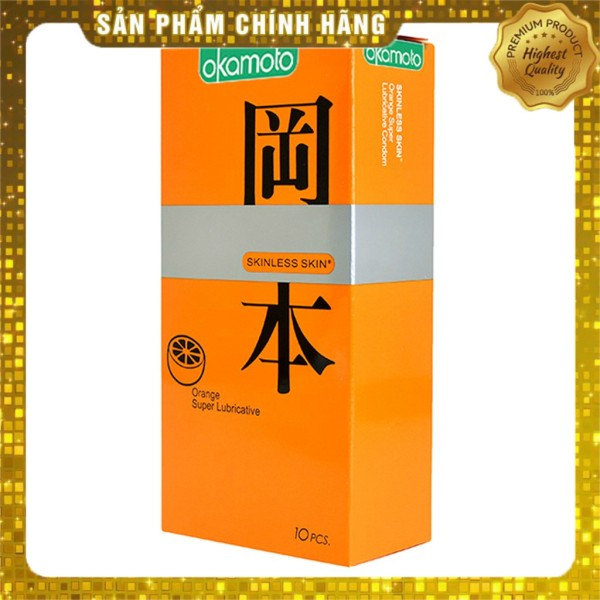 Bao Cao Su Siêu mỏng nhiều gel bôi trơn Okamoto Orange hương cam - 10 chiếc giá rẻ