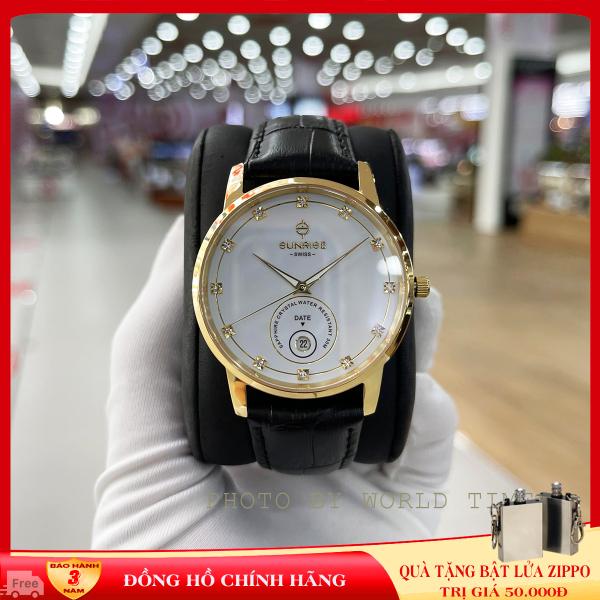 Đồng hồ nam Sunrise dây da 1138SA Full box,kính Sapphire chống xước, chống nước, dây da cao cấp, bảo hành 3 năm.