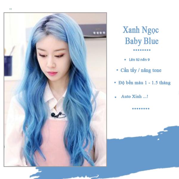 Thuốc nhuộm tóc màu baby blue lên từ level 8 ( Tặng trợ nhuộm ) kem nhuộm tóc tại nhà màu xanh - Hinlove cao cấp
