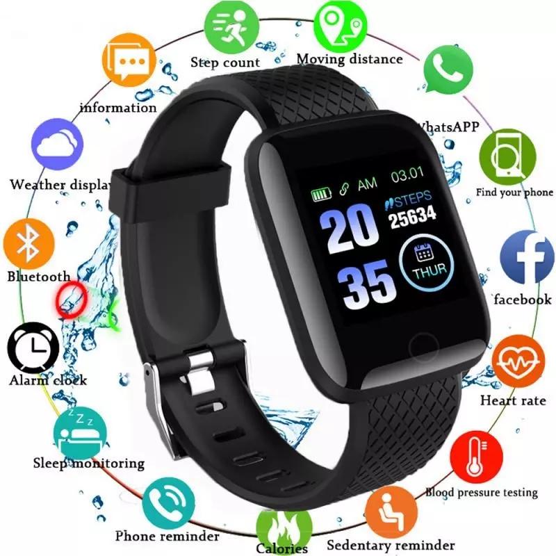 Đồng hồ thông minh 116 Plus màn hình màu chống nước dành cho nữ đồng hồ thể thao có Bluetooth nhắc việc hỗ trợ theo dõi sức khỏe và định vị GPS - INTL