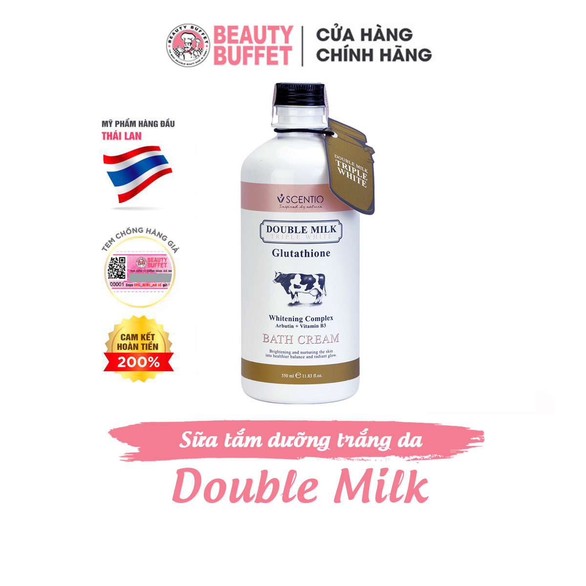 Sữa tắm trắng da Beauty Buffet Scentio Double Milk Triple White 350ml