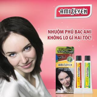 Nhuộm phủ bạc dược thảo Ami Seven Speedy Permanent Hair Color (60g 60g) nhanh 7 phút màu S5 ( Hạt dẻ đậm) - Hàn Quốc thumbnail