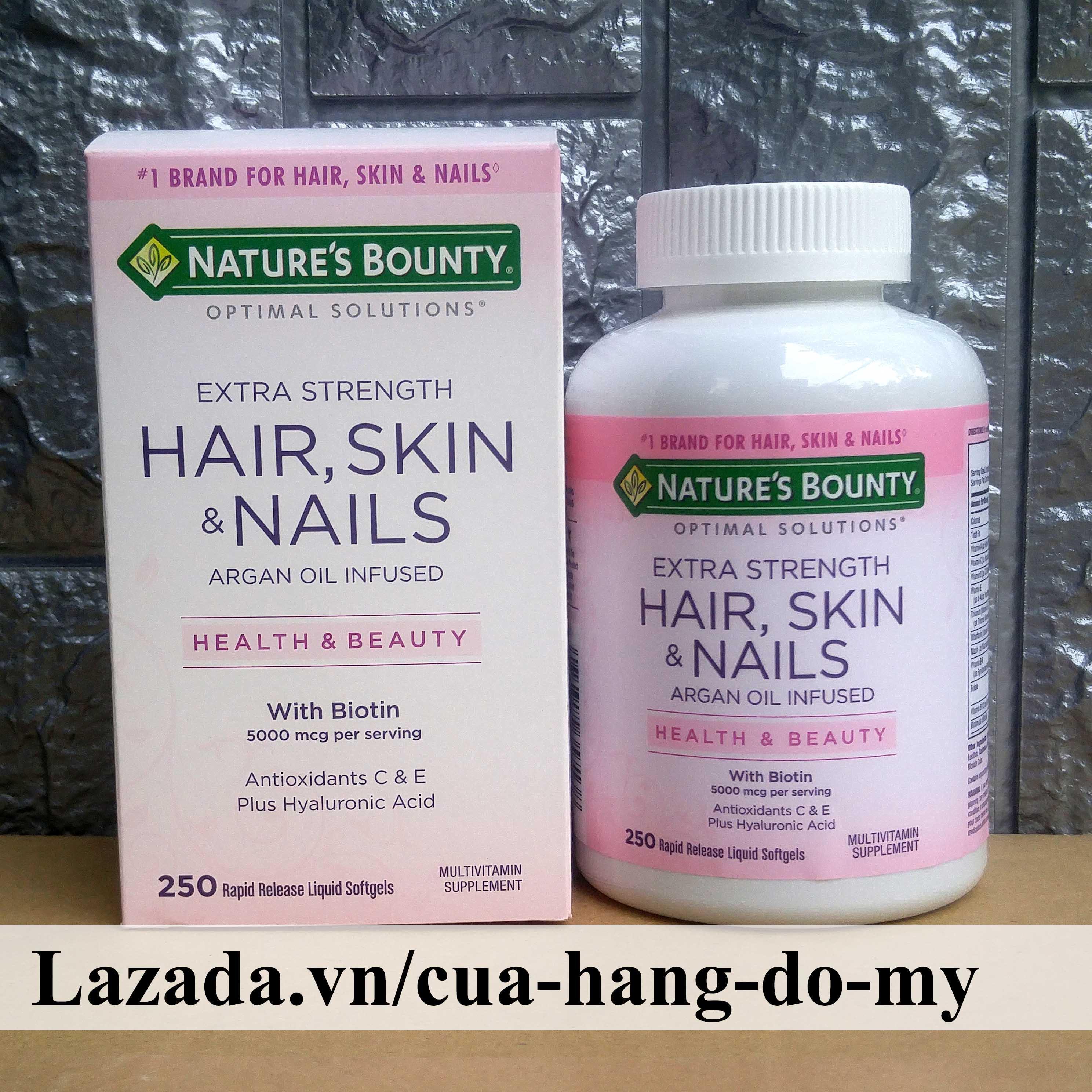 Thực phẩm  Đẹp Da, Tóc, Móng Go Hair Skin Nail Gummies Natures Bounty Argan Oil Infused Health & Beauty with Biotin 5000 mcg Antioxidant C & E Plus Hyaluronic Acid 250 Viên Vitamin tổng hợp dành cho sắc đẹp nhập khẩu
