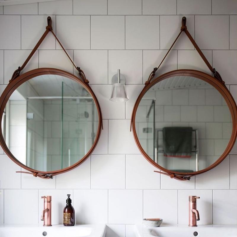 Gương tròn viền da đường kính 50cm