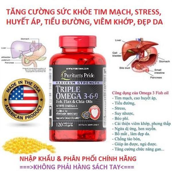 Viên uống bổ tim mạch, chống viêm phổi, (HSD03/2022) tăng cường sức khỏe và trí tuệ Maximun Strength Omega 369 120 viên Puritans Pride