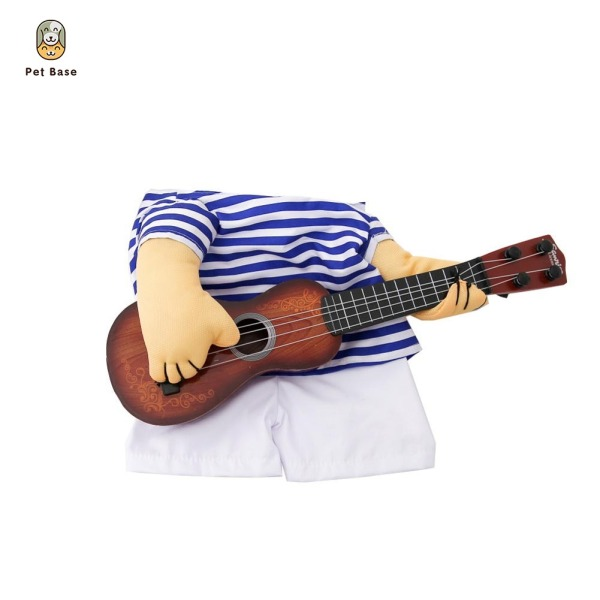 Funny Pet Costume Puppy Guitar Player Cosplay Stripes Apparel Party Cat Dog Dress Up Clothing