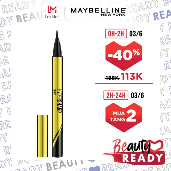 Bút kẻ mắt nước siêu sắc mảnh không lem không trôi Maybelline New York HyperSharp Liner Đen 0.5g giá rẻ