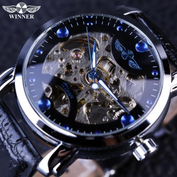 Đồng hồ cơ nam Winner H005M lộ máy